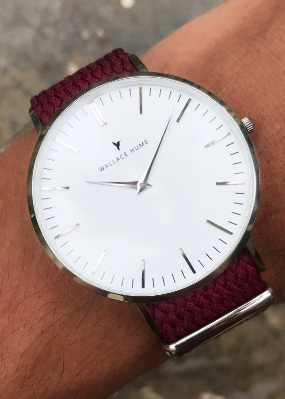 Wallace Hume Burgundy watch on wrist